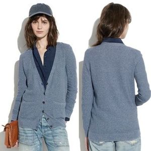 Madewell Inlet Cardigan Sweater VNeck Pockets Blue
